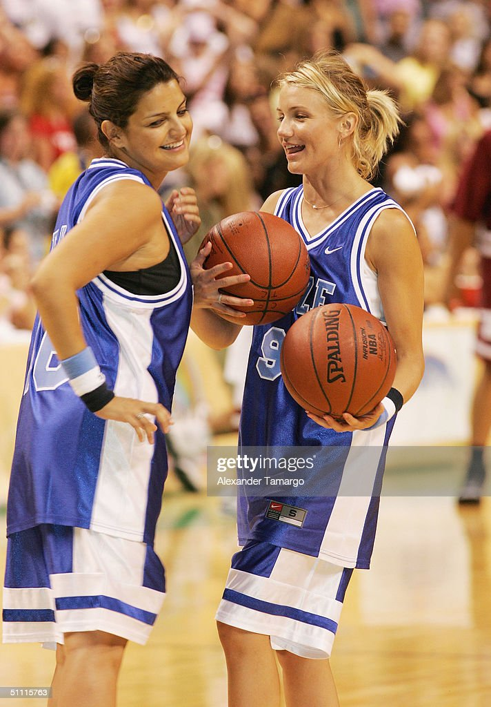 Jennifer Gimenez and Cameron Diaz at NSYNC Challenge For The Children Celebrity Basketball Game at Office Depot Center in Sunrise, Florida on July 25, 2004.