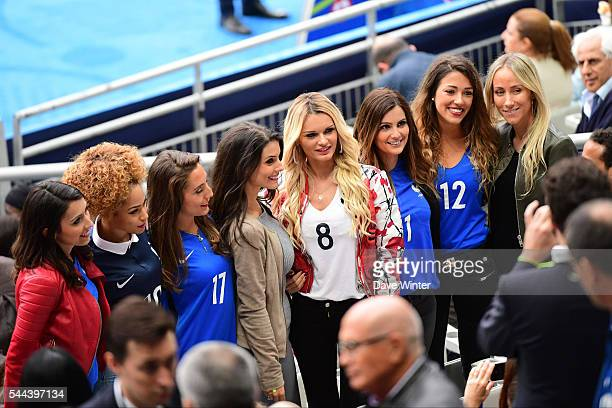 Jennifer Giroud Sephora Coman Tiziri Digne Ludivine Sagna Ludivine Payet Marine Lloris Camille Sold and Sandra Evra before the UEFA Euro 2016 Quarter...
