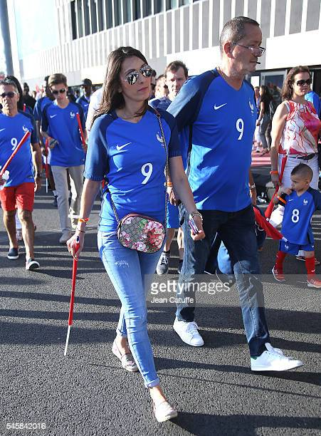 Jennifer Giroud wife of Olivier Giroud and Olivier's father attend the UEFA Euro 2016 semifinal match between Germany and France at Stade Velodrome...