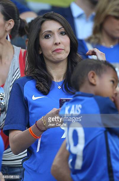 Jennifer Giroud wife of Olivier Giroud of France attends the UEFA Euro 2016 semifinal match between Germany and France at Stade Velodrome on July 7...