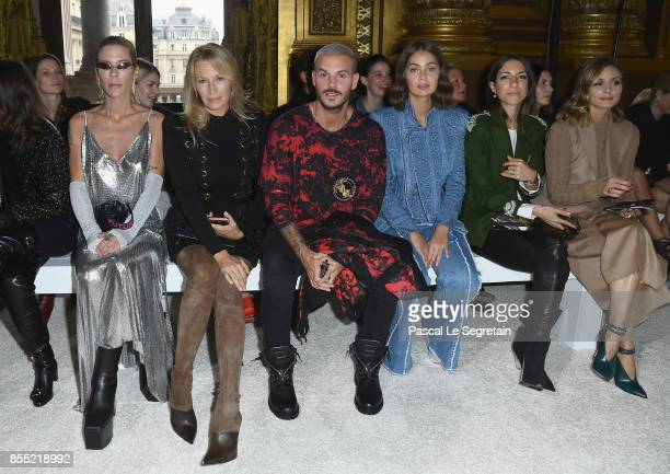 Jennifer Grace Estelle LefebureMatt PokoraMarieAnge Casta a guest and Olivia Palermo attend the Balmain show as part of the Paris Fashion Week...
