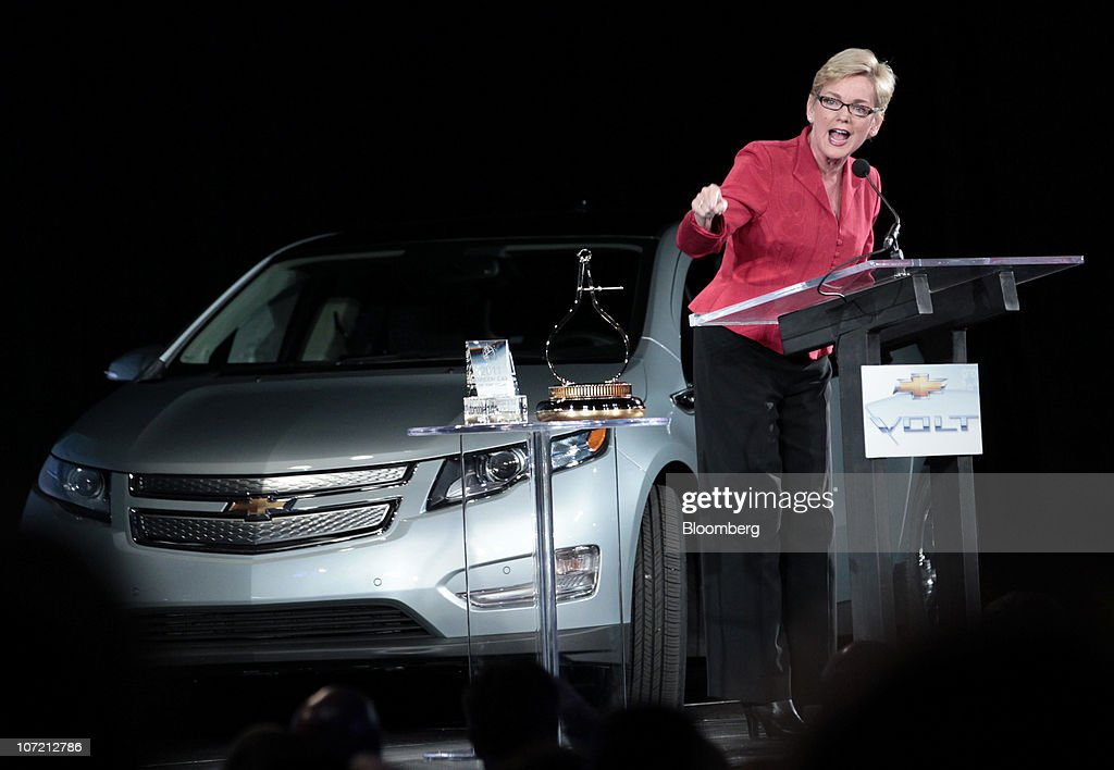 <a gi-track='captionPersonalityLinkClicked' href=/galleries/search?phrase=Jennifer+Granholm&family=editorial&specificpeople=224847 ng-click='$event.stopPropagation()'>Jennifer Granholm</a>, governor of Michigan, speaks at an event at General Motors Co.'s Detroit-Hamtramck Assembly plant in Detroit, Michigan, U.S., on Tuesday, Nov. 30, 2010. General Motors Co., the maker of the Chevrolet Volt gasoline-electric car, will hire 1,000 engineers in Michigan to help expand the automakers' lineup of electric-drive vehicles. Photographer: Jeff Kowalsky/Bloomberg via Getty Images