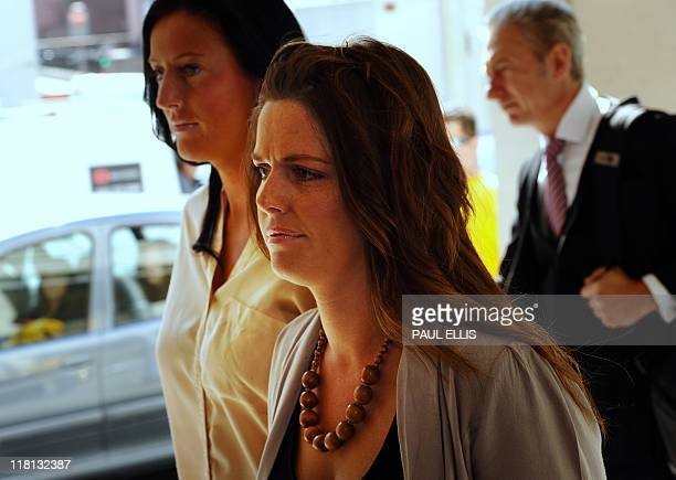 Jennifer Green arrives at Manchester Crown Court in Manchester northwest England on July 4 2011 Three people have appeared in court today accused of...