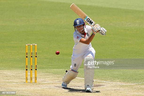 Jennifer Gunn of England bats during day three of the Women's Ashes Test match between Australia and England at the WACA on January 12 2014 in Perth...