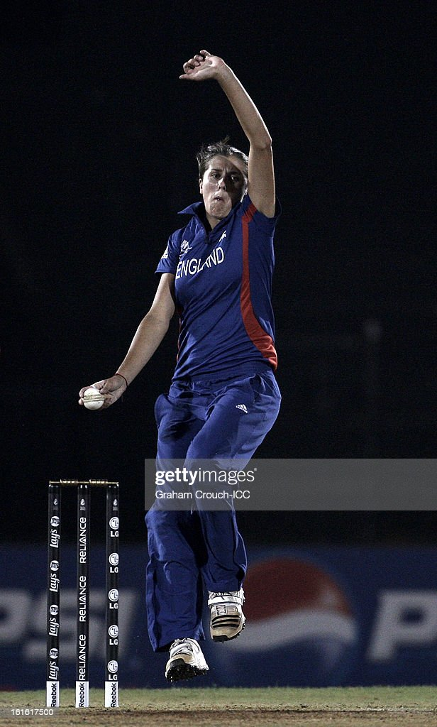 Jennifer Gunn of England bowls during of the Super Sixes ICC Women's World Cup India 2013 match between New Zealand and England at the Cricket Club of India ground on February 13, 2013 in Mumbai, India.