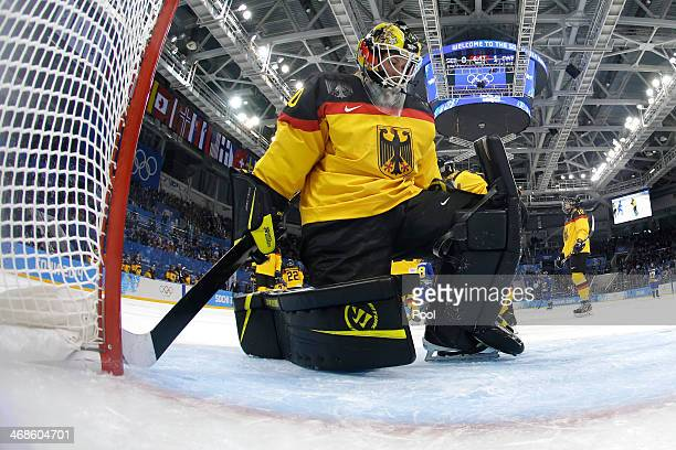 Jennifer Harss of Germany looks on against Sweden during the Women's Ice Hockey Preliminary Round Group B game on day four of the Sochi 2014 Winter...