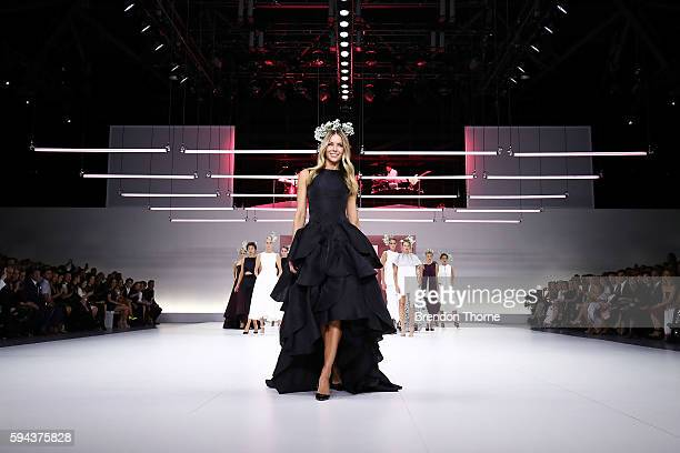 Jennifer Hawkins and models showcase designs by Maticevski during the Myer Spring 16 Fashion Launch at Hordern Pavilion on August 23 2016 in Sydney...