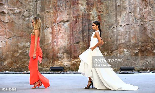 Jennifer Hawkins and Shanina Shaik showcase designs by Maticevski during rehearsal ahead of the Myer AW16 Fashion Launch on February 11 2016 in...