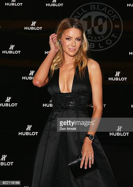 Jennifer Hawkins arrives ahead of the HUBLOT ALL BLACK celebration event at Carriageworks on November 10 2016 in Sydney Australia