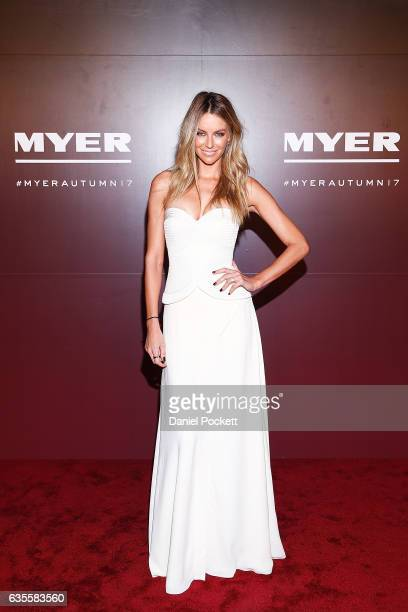 Jennifer Hawkins arrives ahead of the Myer Autumn 2017 Fashion Launch on February 16 2017 in Melbourne Australia