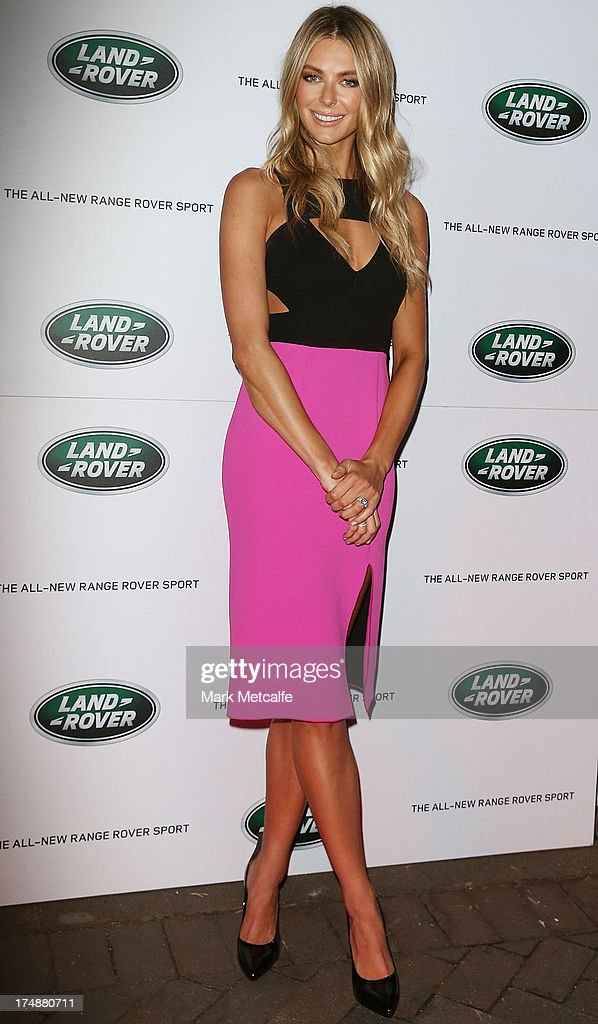 Jennifer Hawkins arrives at a Range Rover Sport launch event at the Overseas Passenger Terminal on July 29, 2013 in Sydney, Australia.