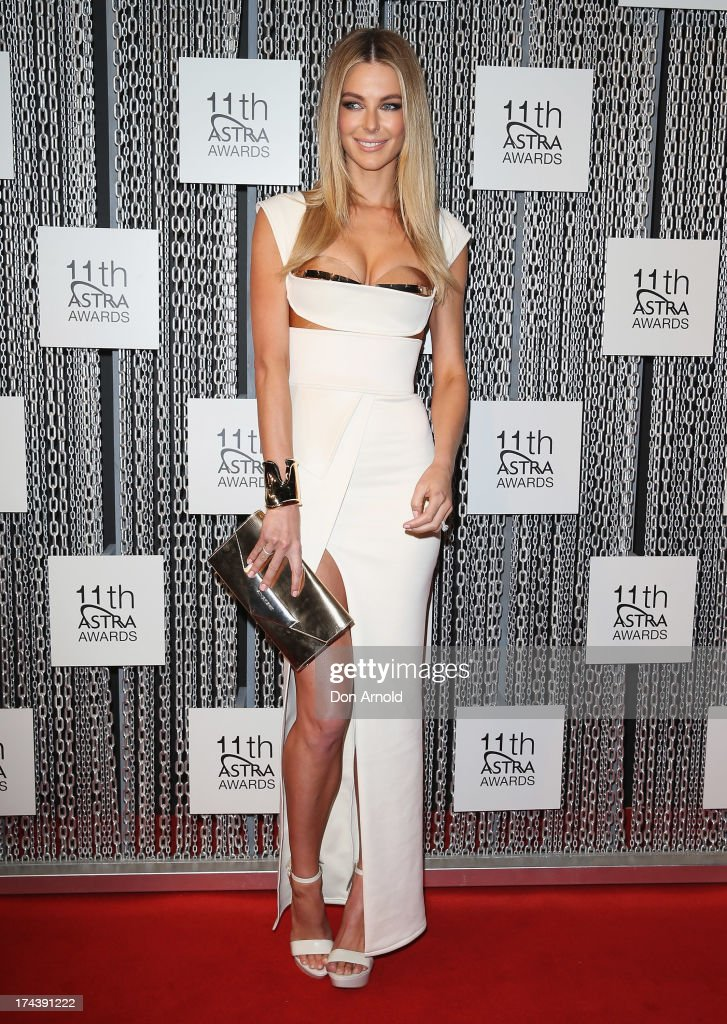 <a gi-track='captionPersonalityLinkClicked' href=/galleries/search?phrase=Jennifer+Hawkins&family=editorial&specificpeople=202875 ng-click='$event.stopPropagation()'>Jennifer Hawkins</a> arrives at the 11th Annual ASTRA Awards at Sydney Theatre on July 25, 2013 in Sydney, Australia.