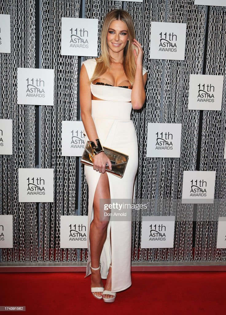 Jennifer Hawkins arrives at the 11th Annual ASTRA Awards at Sydney Theatre on July 25, 2013 in Sydney, Australia.