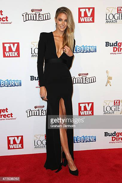 Jennifer Hawkins arrives at the 57th Annual Logie Awards at Crown Palladium on May 3 2015 in Melbourne Australia