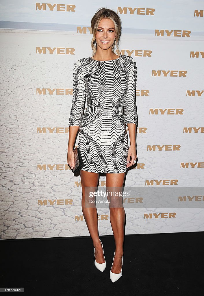 <a gi-track='captionPersonalityLinkClicked' href=/galleries/search?phrase=Jennifer+Hawkins&family=editorial&specificpeople=202875 ng-click='$event.stopPropagation()'>Jennifer Hawkins</a> arrives at the Myer Spring/Summer 2014 Collections Launch at Fox Studios on August 8, 2013 in Sydney, Australia.