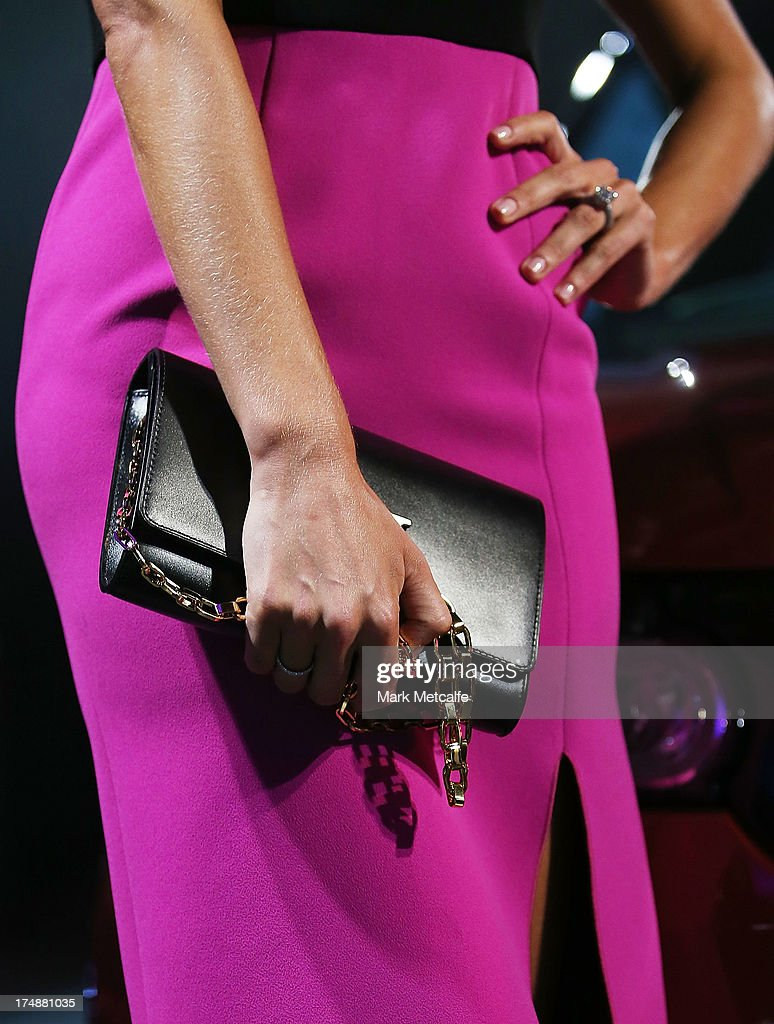 Jennifer Hawkins (purse detail) attends a Range Rover Sport launch event at the Overseas Passenger Terminal on July 29, 2013 in Sydney, Australia.