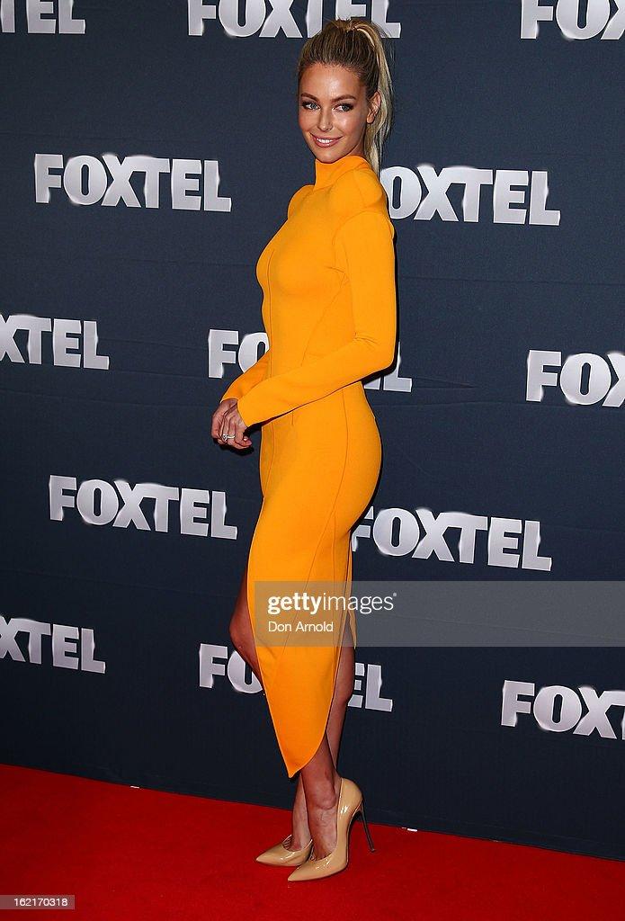 Jennifer Hawkins attends the 2013 Foxtel Launch at Fox Studios on February 20, 2013 in Sydney, Australia.