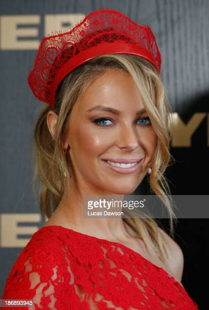 Jennifer Hawkins attends the Myer marquee during Melbourne Cup Day at Flemington Racecourse on November 5 2013 in Melbourne Australia