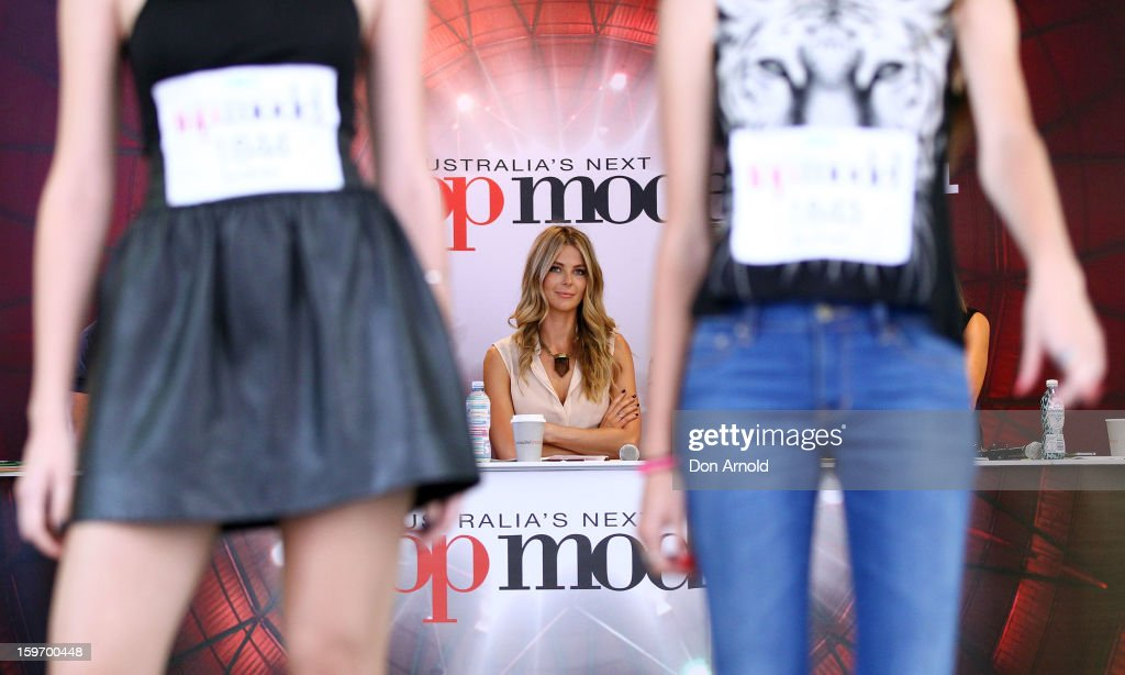 Jennifer Hawkins casts a keen eye over contestants at the Sydney audition for Season 8 of Australia's Next Top Model on January 19, 2013 in Sydney, Australia.