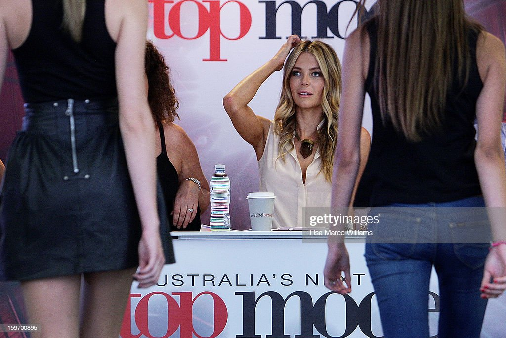 Jennifer Hawkins greets contestants during the Sydney audition for Season 8 of Australia's Next Top Model at Pitt Street Mall on January 19, 2013 in Sydney, Australia.