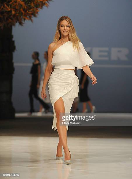 Jennifer Hawkins models Maticevski during the Myer Spring 2015 Fashion Launch on August 13 2015 in Sydney Australia