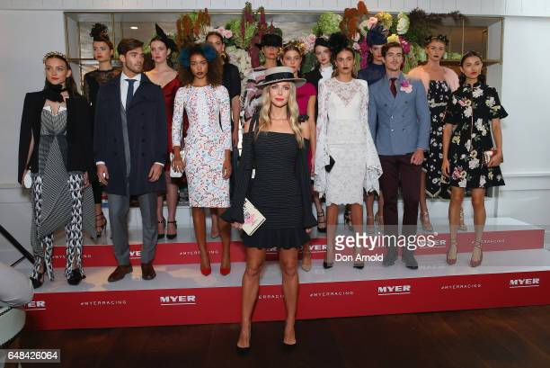 Jennifer Hawkins poses alongside other models at the Myer Autumn Racing Collection Launch at the Centennial Hotel on March 6 2017 in Sydney Australia