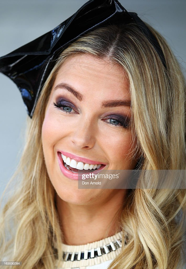 Jennifer Hawkins poses at the Myer Autumn/Winter Collection preview at Dawes Point on March 12, 2013 in Sydney, Australia.