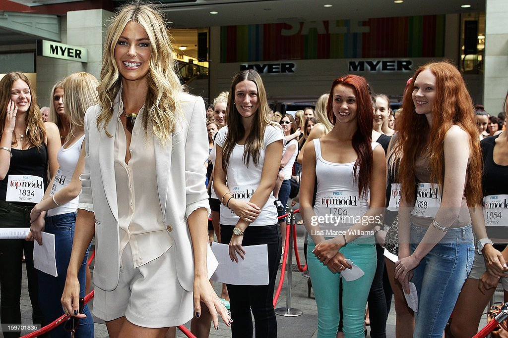 <a gi-track='captionPersonalityLinkClicked' href=/galleries/search?phrase=Jennifer+Hawkins&family=editorial&specificpeople=202875 ng-click='$event.stopPropagation()'>Jennifer Hawkins</a> poses during the Sydney audition for Season 8 of Australia's Next Top Model at Pitt Street Mall on January 19, 2013 in Sydney, Australia.