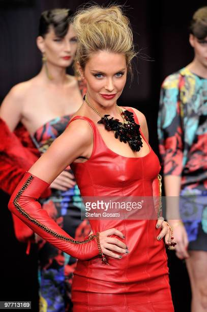 Jennifer Hawkins showcases a design by Charlie Brown on the catwalk at the Myer Autumn Winter 2010 Collection Launch at Sidney Myer Music Bowl on...