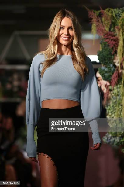 Jennifer Hawkins showcases designs by Asilio during the Myer Fashion Runway show on March 16 2017 in Sydney Australia
