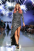 Jennifer Hawkins showcases designs by Balmain during the Myer Spring Summer 2014 Fashion Launch at Carriageworks on August 7 2014 in Sydney Australia