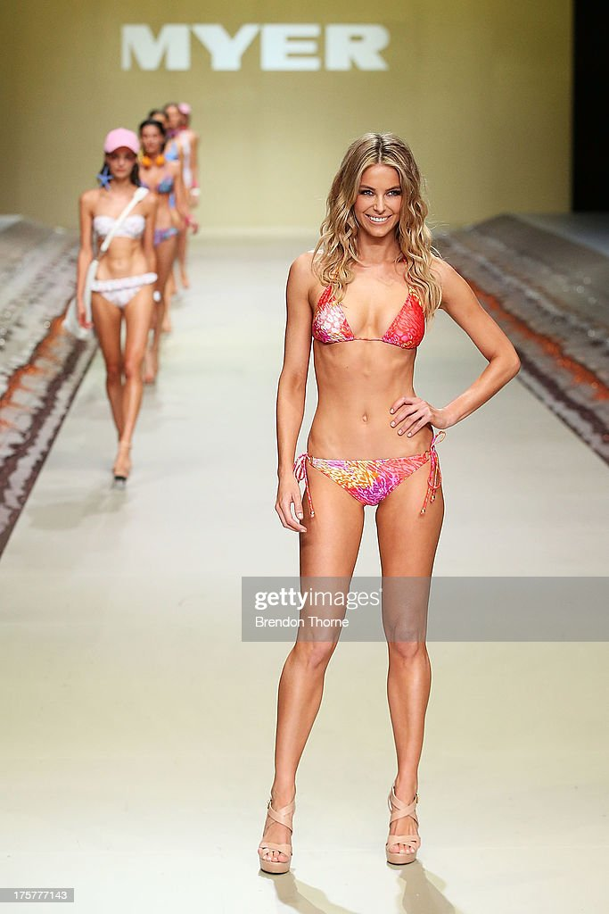 Jennifer Hawkins showcases designs by Cozi by Jennifer Hawkins at the Myer Spring/Summer 2014 Collections Launch at Fox Studios on August 8, 2013 in Sydney, Australia.
