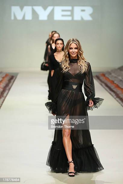 Jennifer Hawkins showcases designs by Leona Edmiston at the Myer Spring/Summer 2014 Collections Launch at Fox Studios on August 8 2013 in Sydney...