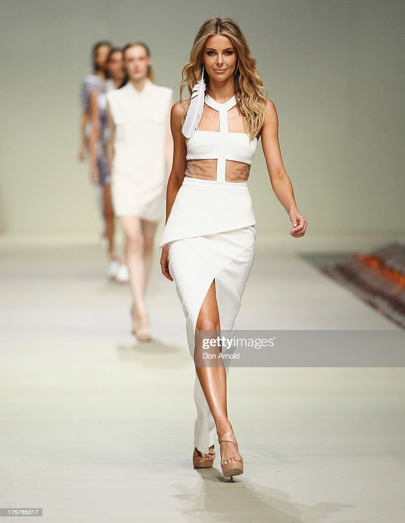 Jennifer Hawkins showcases designs by Manning Cartell at the Myer Spring/Summer 2014 Collections Launch at Fox Studios on August 8, 2013 in Sydney, Australia.