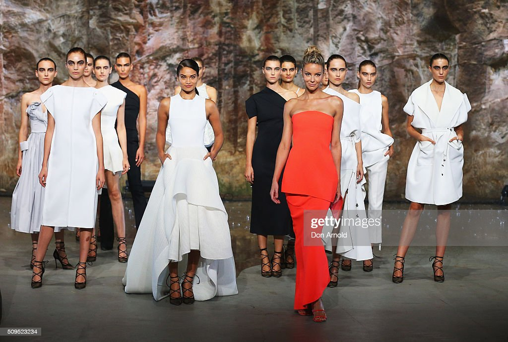 Jennifer Hawkins showcases designs by Maticevski on the runway at the Myer AW16 Fashion Launch on February 11, 2016 in Sydney, Australia.