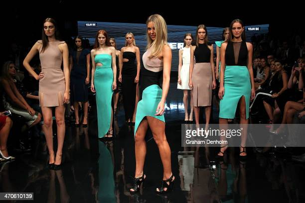 Jennifer Hawkins showcases designs by Yeojin Bae during the Myer Autumn Winter 2014 Fashion Launch at Myer Mural Hall on February 20 2014 in...