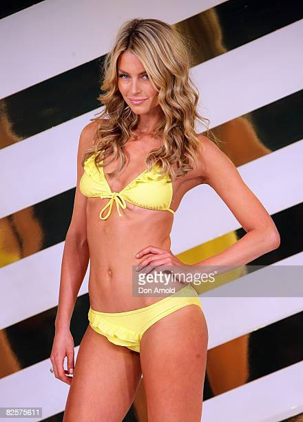 Jennifer Hawkins showcases designs on the catwalk at the Myer Spring Summer Fashion Launch 2009 at Byron Kennedy Hall Moore Park on August 27 2008 in...