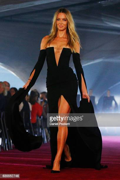 Jennifer Hawkins showcases designs on the runway during the media dress rehearsal ahead of the Myer Autumn 2017 Fashion Launch on February 16 2017 in...