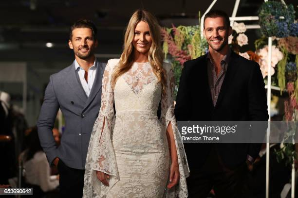 Jennifer Hawkins Tim Robards and Kris Smith showcases designs during the Myer Fashion Runway show on March 16 2017 in Sydney Australia