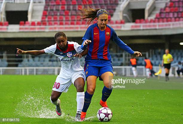 Jennifer Hermoso and Alvine Njolle during the womens Champions league match between FC Barcelona v FC Minsk in Barcelona on October 12 2016 Photo...