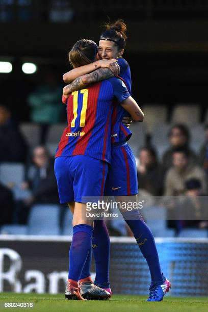 Jennifer Hermoso of Barcelona celebrates with Alexia Putellas of Barcelona after scoring her sides first goal during the UEFA Women's Champions...