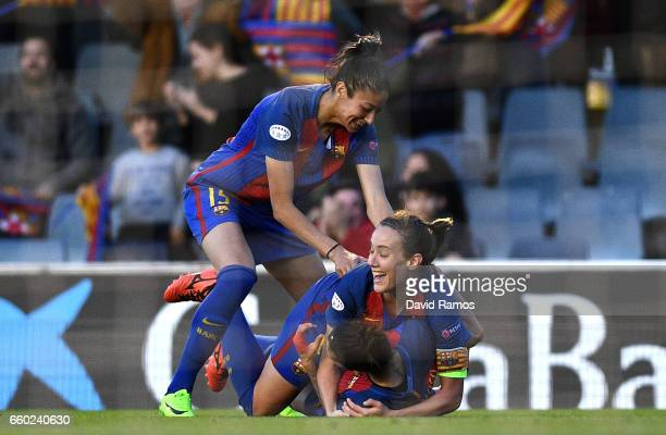 Jennifer Hermoso of Barcelona celebrates with her team mates after she scores her sides first goal during the UEFA Women's Champions League...