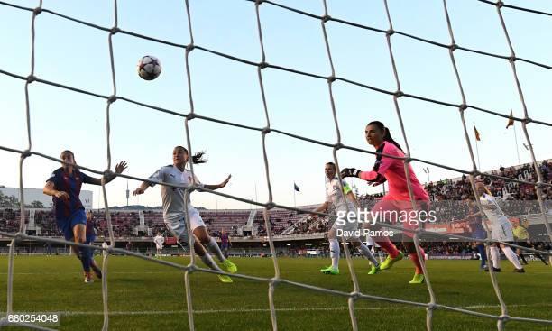 Jennifer Hermoso of Barcelona scores her sides first goal during the UEFA Women's Champions League QuarterFinal Second Leg match between Barcelona...