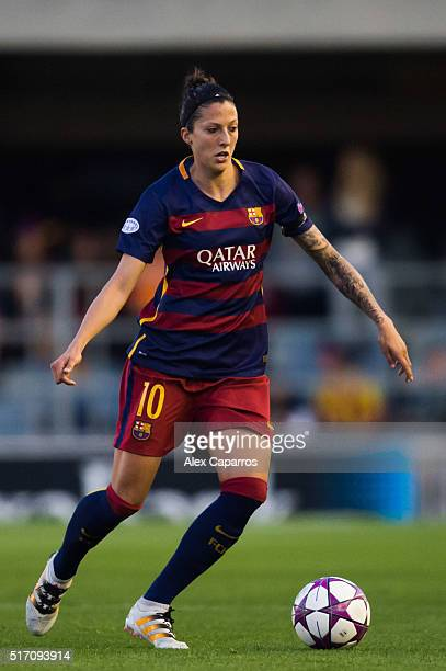 Jennifer Hermoso of FC Barcelona conducts the ball during the UEFA Women's Champions League Quarter Final first leg match between FC Barcelona and...