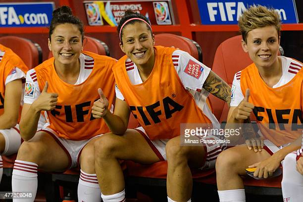 Jennifer Hermoso of Spain poses for a picture with teammates during the 2015 FIFA Women's World Cup Group E match against Brazil at Olympic Stadium...