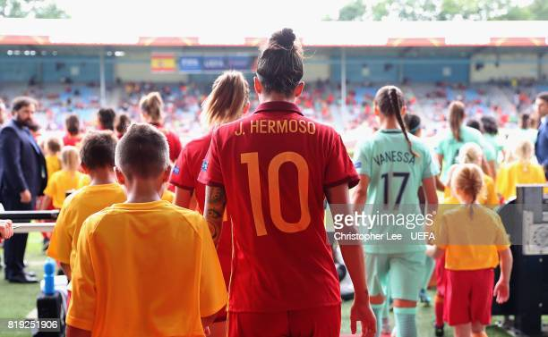 Jennifer Hermoso of Spain walks out onto the pitch during the UEFA Women's Euro 2017 Group D match between Spain and Portugal at Stadion De...