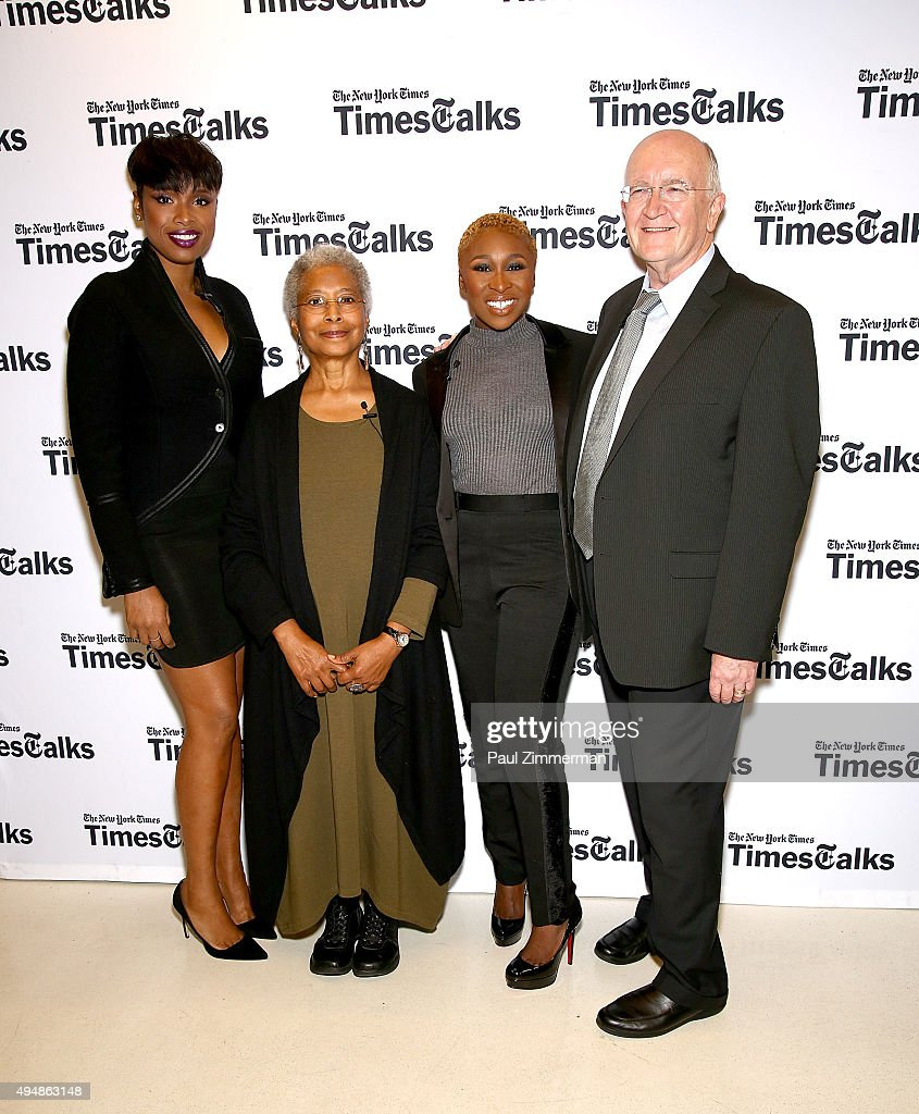 Jennifer Hudson, Alice Walker, Cynthia Erivo and John Doyle attend 'The Color Purple' TimesTalks: Jennifer Hudson, Cynthia Erivo, Alice Walker, John Doyle at The New School on October 29, 2015 in New York City.