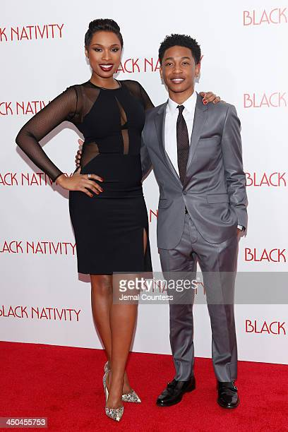 Jennifer Hudson and Actor Jacob Latimore attend the'Black Nativity' premiere at The Apollo Theater on November 18 2013 in New York City