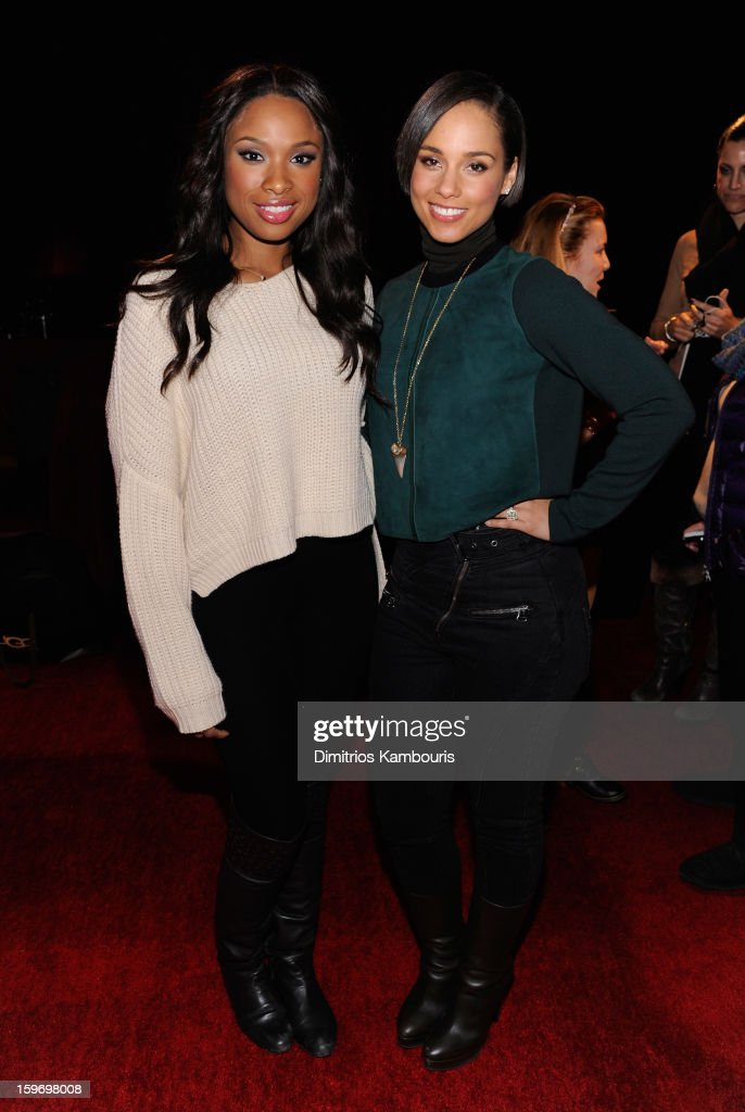 <a gi-track='captionPersonalityLinkClicked' href=/galleries/search?phrase=Jennifer+Hudson&family=editorial&specificpeople=234833 ng-click='$event.stopPropagation()'>Jennifer Hudson</a> and <a gi-track='captionPersonalityLinkClicked' href=/galleries/search?phrase=Alicia+Keys&family=editorial&specificpeople=169877 ng-click='$event.stopPropagation()'>Alicia Keys</a> attend Day 1 of Village at The Lift 2013 on January 18, 2013 in Park City, Utah.