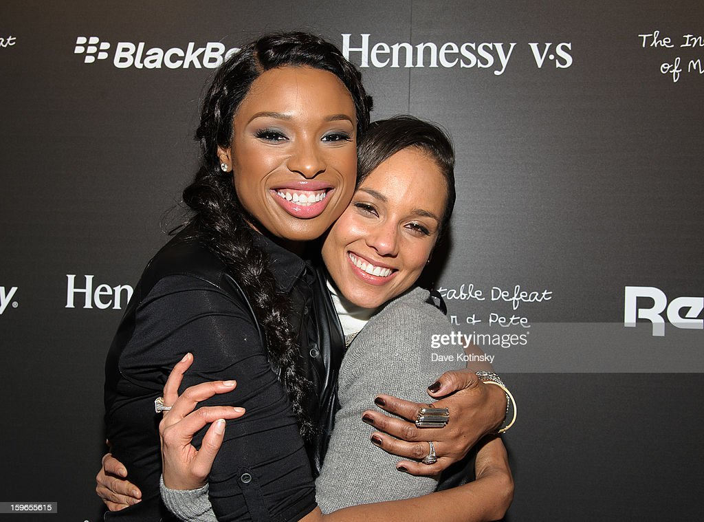 Jennifer Hudson and Alicia Keys attend Hennessy VS Presents 'The Inevitable Defeat of Mister and Pete' sponsored by Reebok and Blackberry at the Julie Nester Gallery on January 17, 2013 in Park City, Utah.